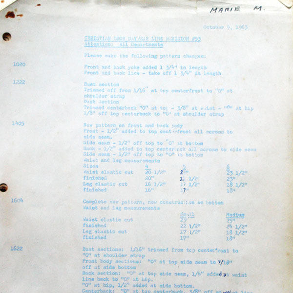Documents relatifs à la confection américaine de lingerie Christian Dior (1962-1963)