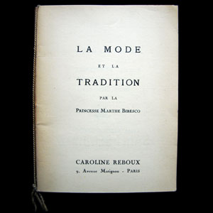 Caroline Reboux - La mode et la tradition par la Princesse Bibesco (1939)