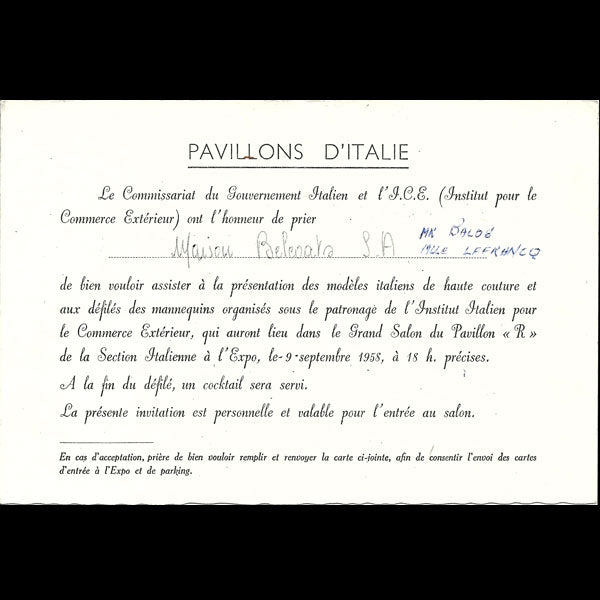 Invitation à un défilé de mode au Pavillon de l'Italie à l'Exposition internationale de 1958
