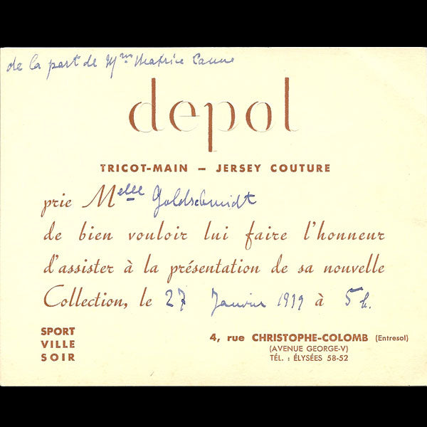 Carton d'invitation de la maison Depol, 4 rue Christophe Colomb à Paris (1939)