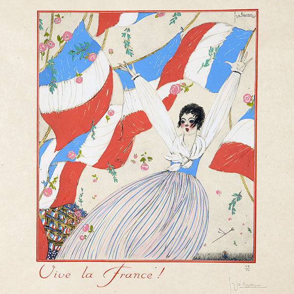 Lepape - Vive la France ! Pochoir sur japon (1917)