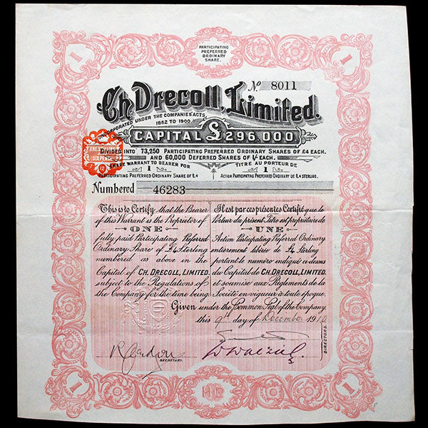 Drecoll - Action Ch. Drecoll Limited (1910)