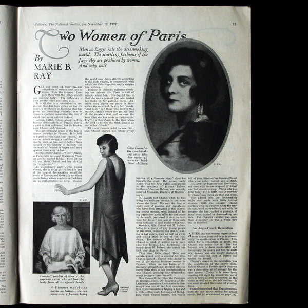 Collier's- Two Women of Paris : Madeleine Vionnet & Gabrielle Chanel (12 novembre 1927)