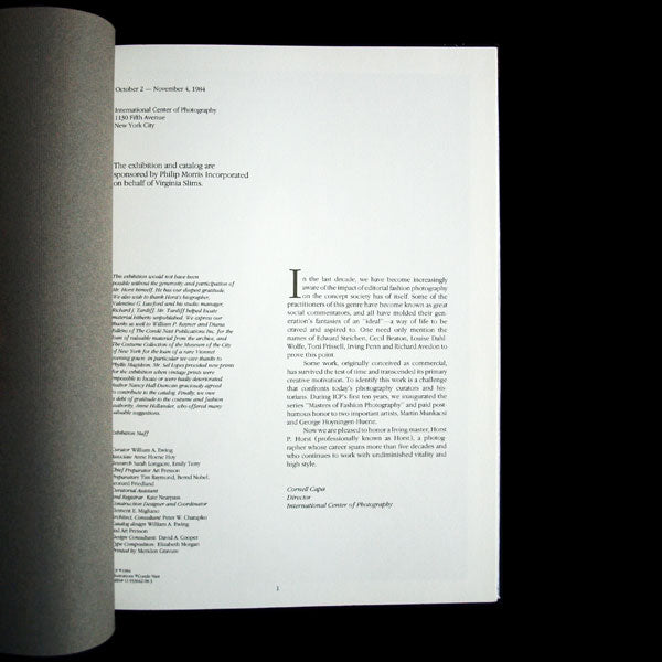 Horst, catalogue de l'exposition de l'International Center of Photography (1984)