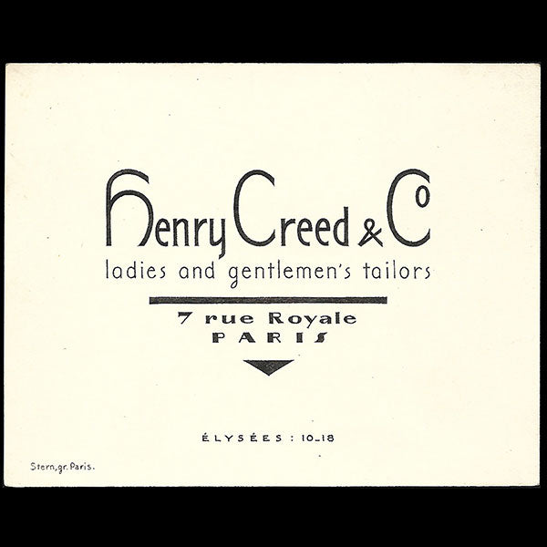Henry Creed & Co - Carte de visite, 7 rue Royale à Paris (1928)