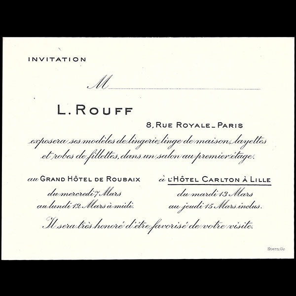 L. Rouff - invitation de la maison de couture, 8 rue Royale à Paris (1928)