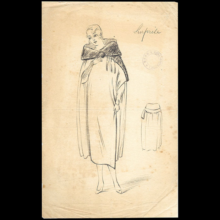 Beer - Surprise, dessin d'un manteau (circa 1920)
