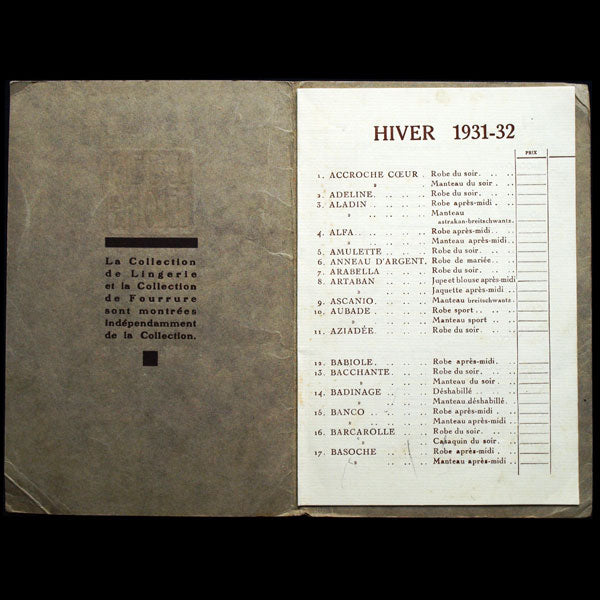 Lucien Lelong - Carnet de collection, Hiver 1931-1932