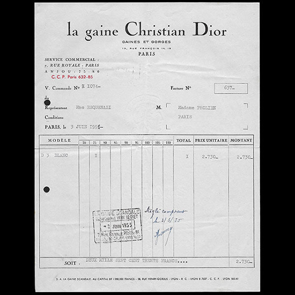 Christian Dior - Facture de La gaine Christian Dior (1955)