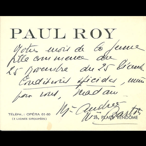 Carton d'invitation de la maison Paul Roy, 26 place Vendôme à Paris (circa 1937-1940)