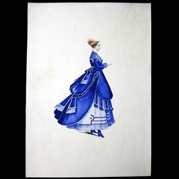 Projets de robes, ensemble de 7 dessins à l'aquarelle d'un dessinateur en costumes et robes (circa 1860-1870)