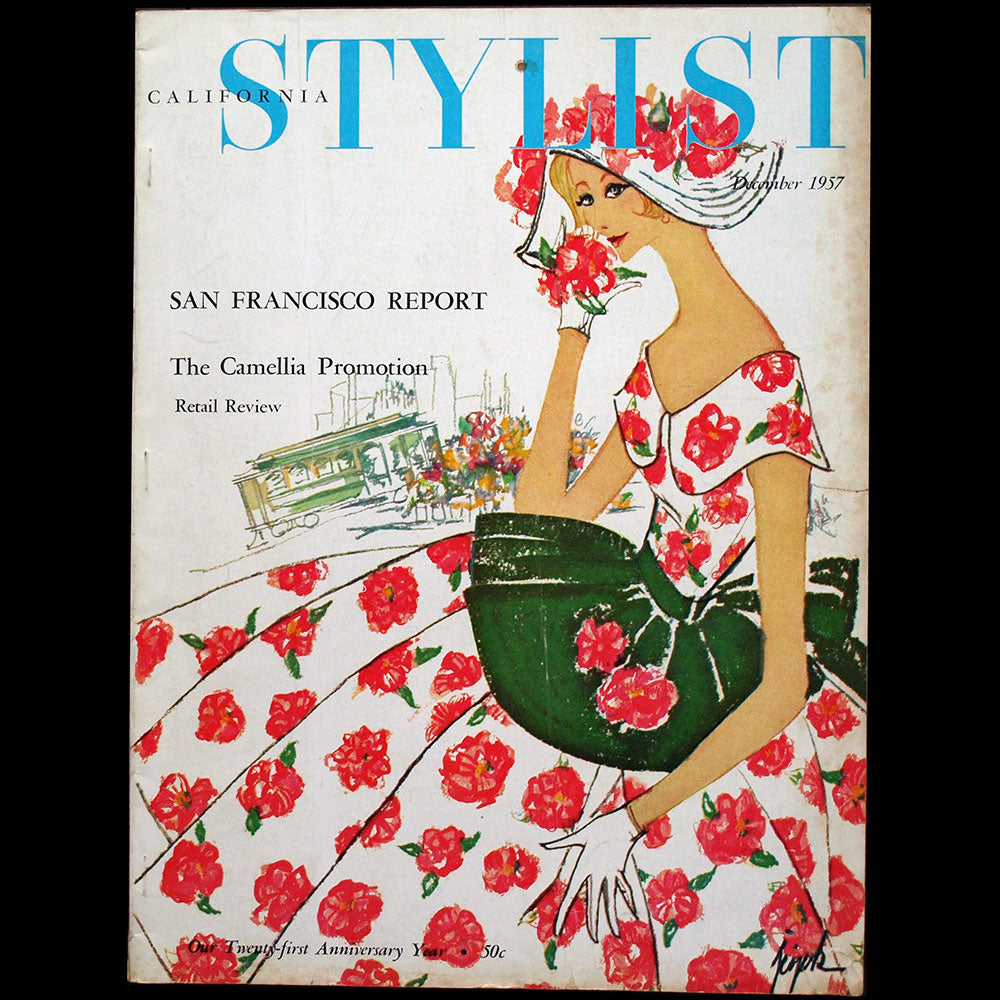 California Stylist, December 1957, couverture de Lois Jezek