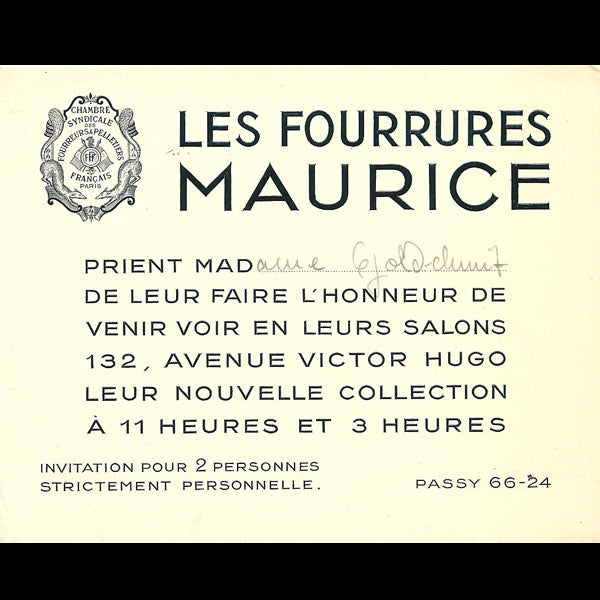 Carton d'invitation du fourreur Maurice, 132 avenue Victor Hugo à Paris (circa 1935)