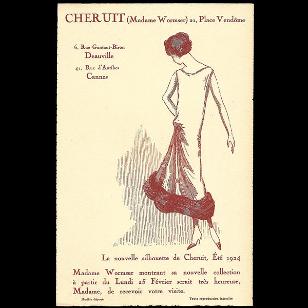 Chéruit - Invitation de la maison de couture, 21 place Vendôme à Paris (1924)