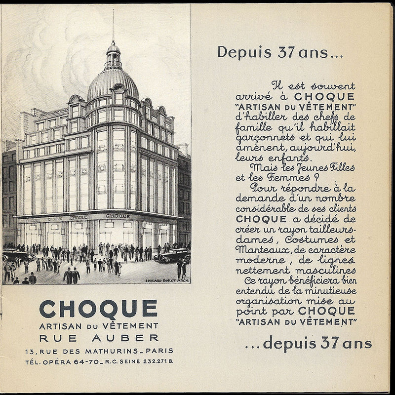 Choque - Catalogue du magasin, rue Auber à Paris (1937)