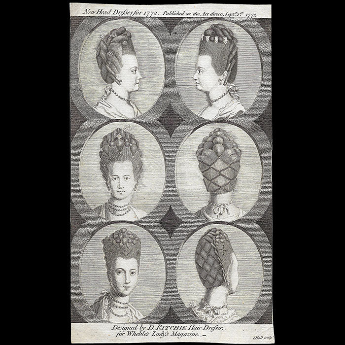 David Ritchie - New Head Dresses for 1772, gravure du Lady's Magazine