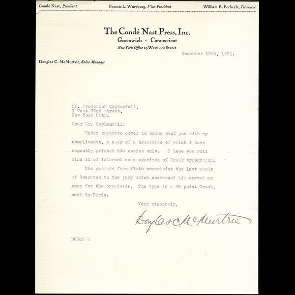 The Condé Nast Press - Lettre de Douglas McMurtrie (1921)