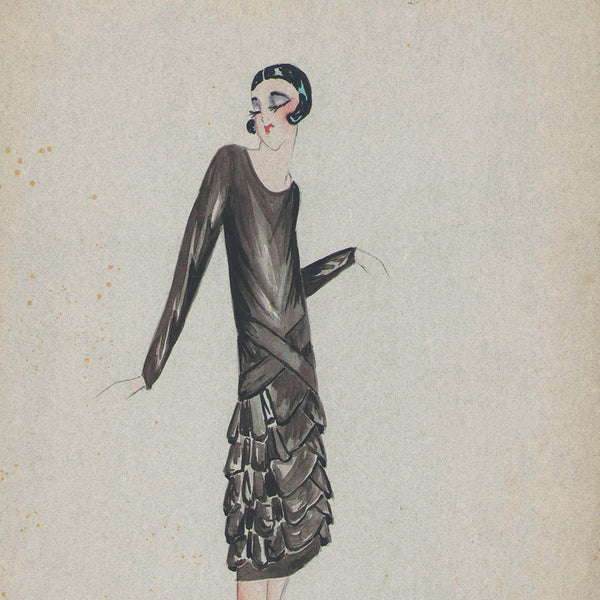 Fashion drawing of evening dress from a Paris Couture House (c. 1925-1930)