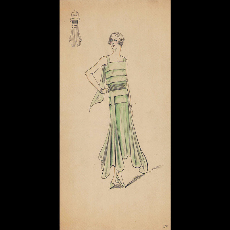Set of 9 fashion drawings from Parisian couture houses (c.1930)