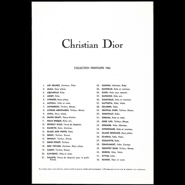 Christian Dior - Programme de la collection Printemps 1964