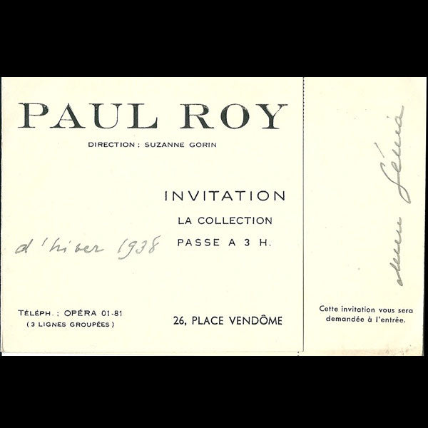 Carton d'invitation de la maison Paul Roy, 26 place Vendôme à Paris (1938)