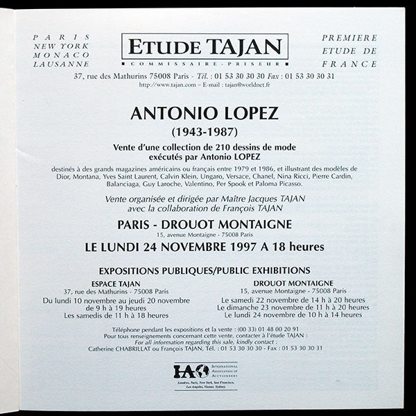 Antonio Lopez, 210 dessins de mode - catalogue de la vente du 24 novembre 1997