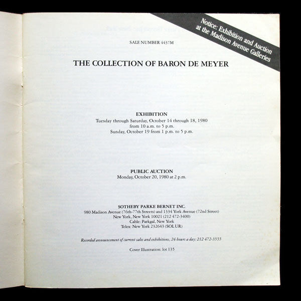 The Collection of Baron De Meyer, Sotheby's (1980)