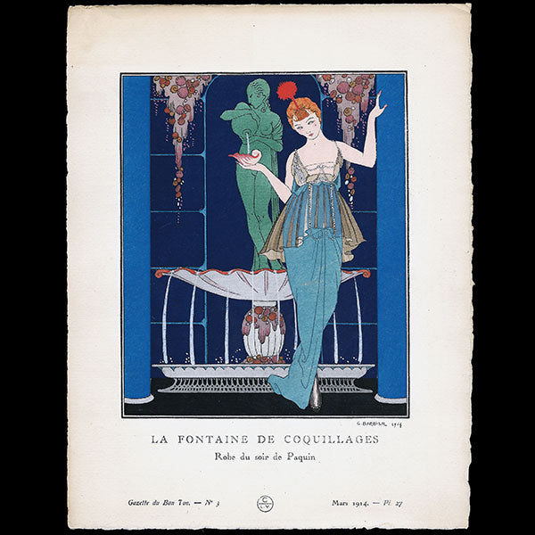 Gazette du Bon Ton - La Fontaine de coquillages, robes du soir de Paquin, planche de George Barbier (n°3, 1914)