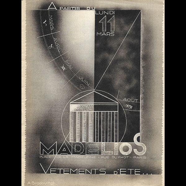 Madelios - Catalogue d'été, couverture d'Alexei Brodovitch (1930)