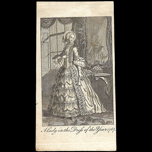 A Lady in the dress of the year 1767, gravure du Ladies Own Memorandum Book (1767)