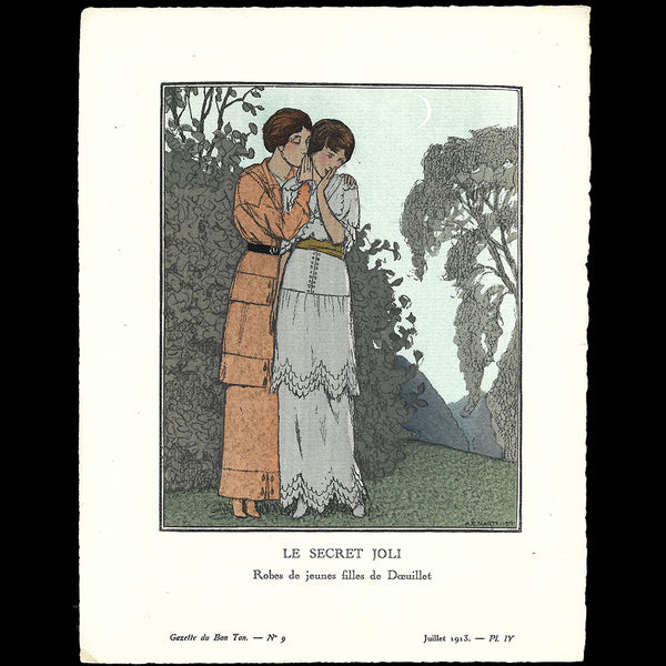 Gazette du Bon Ton - Le Secret joli, robes de Doeuillet, planche de Marty (n°9, 1913)