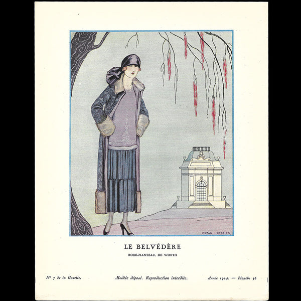 Gazette du Bon Ton - Belvédère, robe manteau de Worth, planche de George Barbier (n°7, 1924)