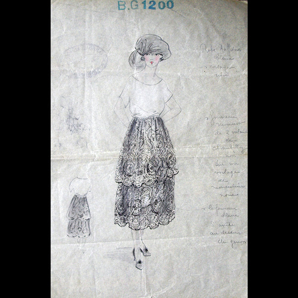 Harrods Buenos Aires - Dessin d'une robe dentelle Chantilly (1919)