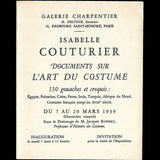 Isabelle Couturier - Invitation à l'exposition Documents sur l'Art du Costume (1939)