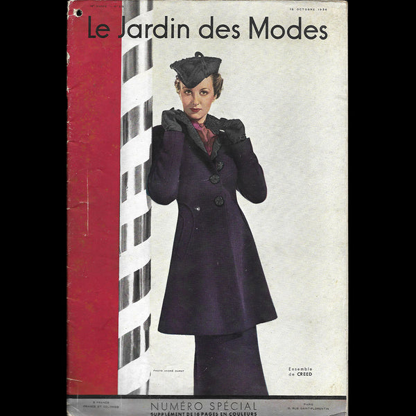 Le Jardin des Modes, n°219, 15 octobre 1936, ensemble de Creed