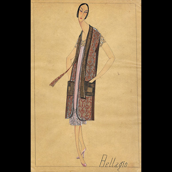 Jeanne Lanvin - Dessin de l'ensemble Bellagio (1925)