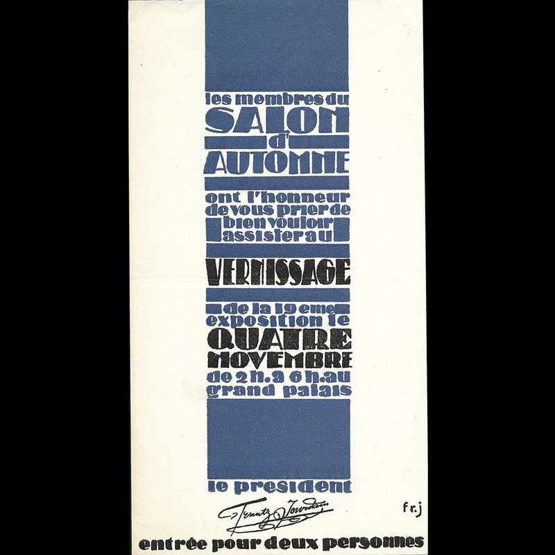 Jourdain - Invitation au vernissage du Salon d'Automne (1926)