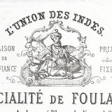 L'Union des Indes - Facture de la maison de foulards, 1 rue Auber à Paris (1867)