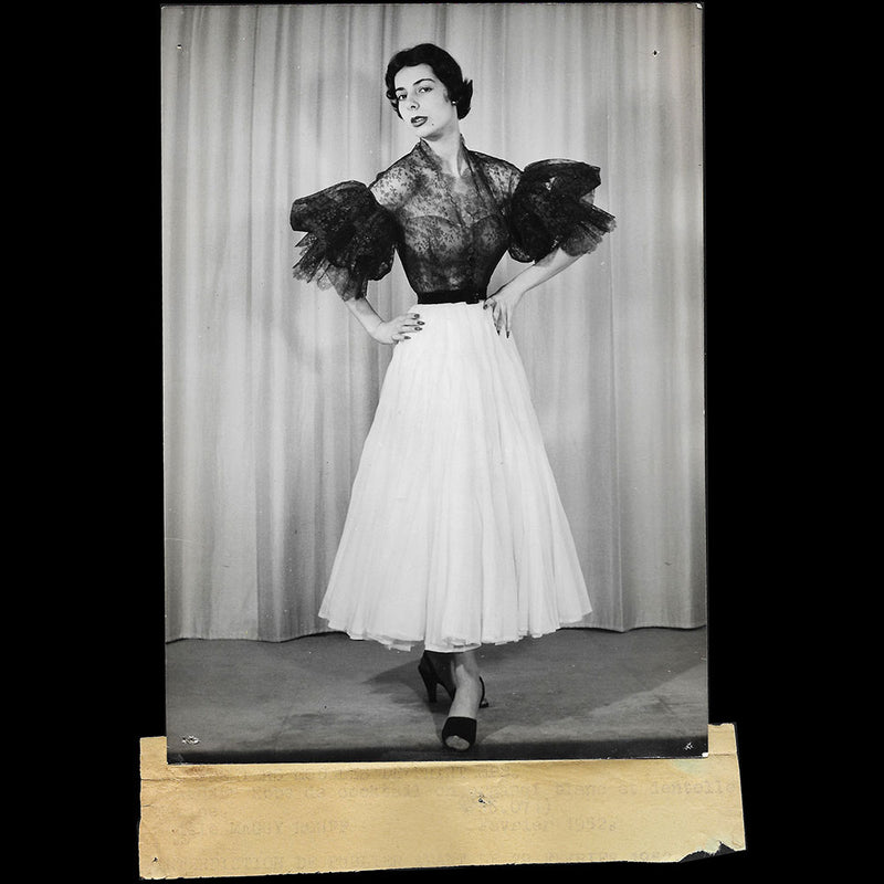 Maggy Rouff - Robe de cocktail en organdi et dentelle (1952)