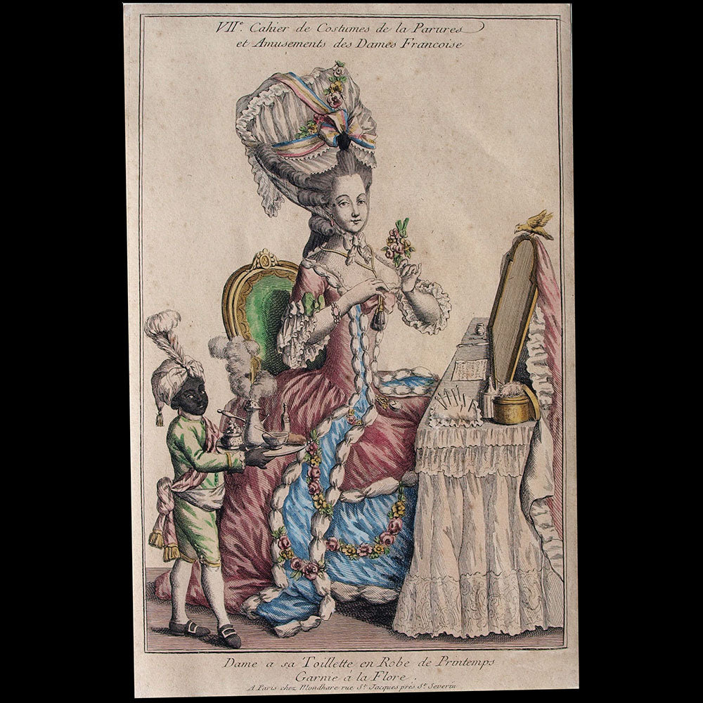 Mondhare - Collection de la Parure des Dames - Dame a sa Toillette en Robe de Printemps Garnie a la Flore (circa 1782)