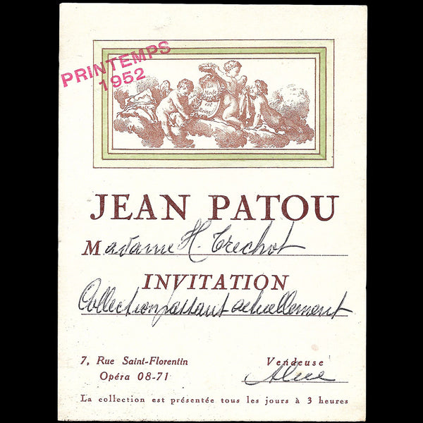Patou - Carton d'invitation pour la collection Printemps-Eté 1952