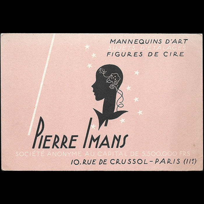 Pierre Imans - Carte, 10 rue Crussol à Paris (1930s)