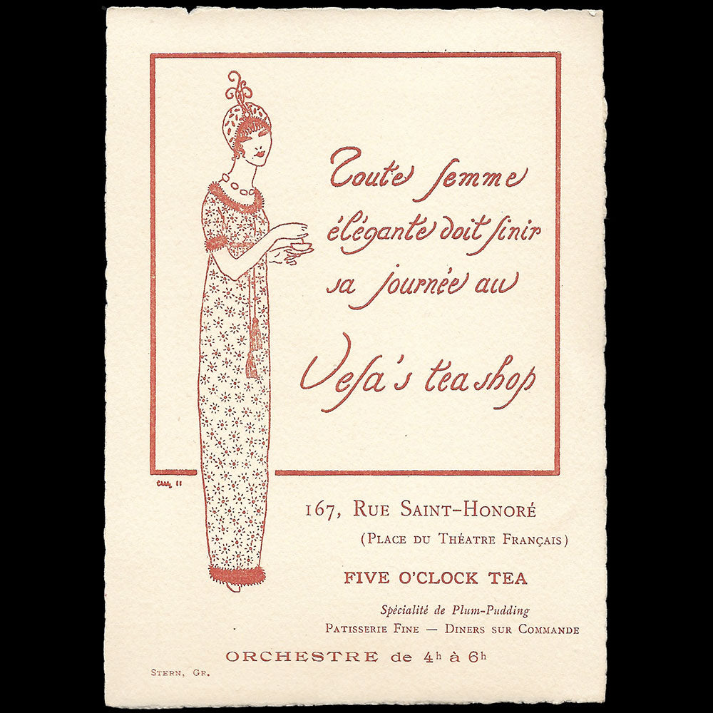 Vefa's tea shop - Carte publicitaire, 167 rue Saint-Honoré à Paris (1911)