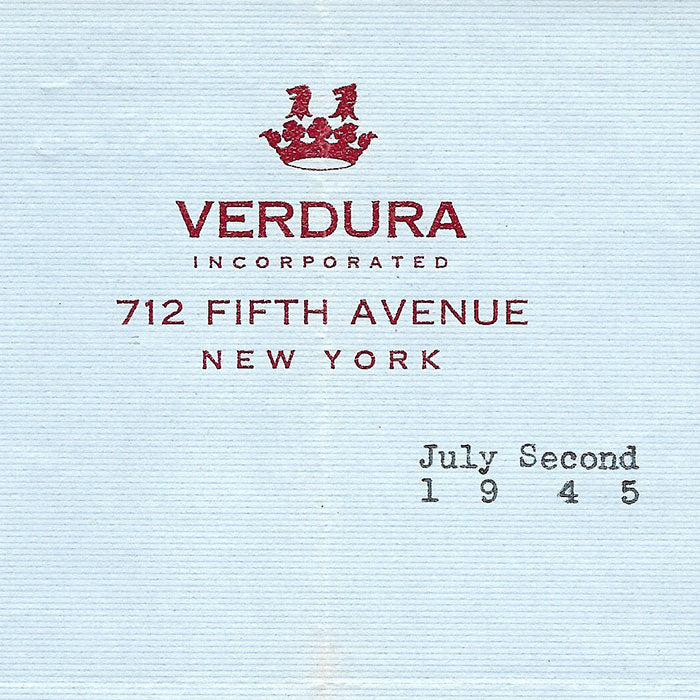 Verdura - Facture du bijoutier joaillier, 712 Fifth Avenue à New York (1945)