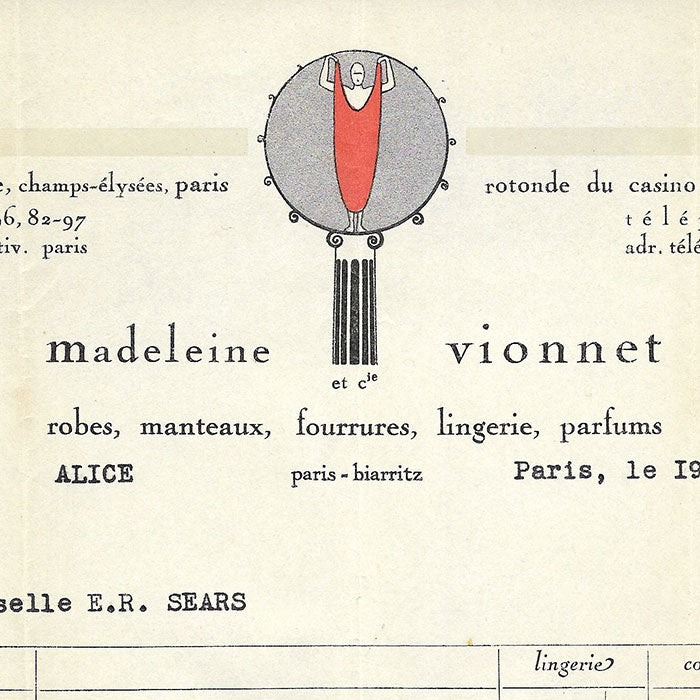 Vionnet - Facture, 50 avenue Montaigne à Paris (19 avril 1934)