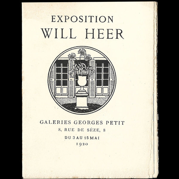 Will Heer - catalogue de l'exposition à la Galerie Georges Petit à Paris (1920)