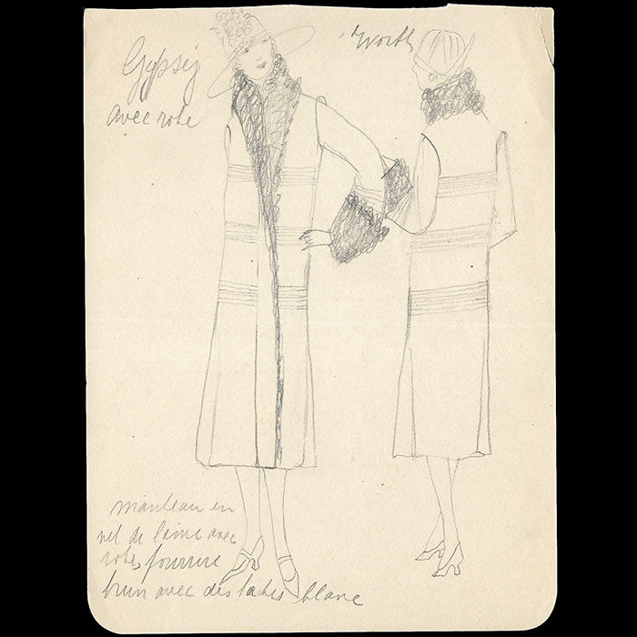 Worth - Ensemble de dix dessins de robes et manteaux (1920s)