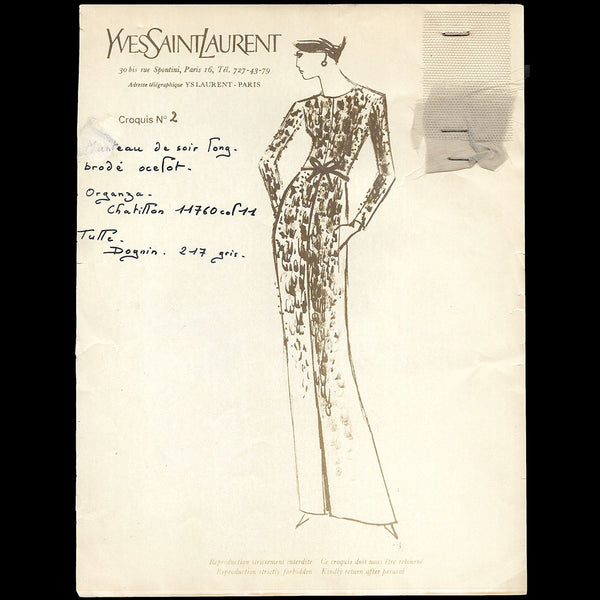 Yves Saint-Laurent - Ensemble de 145 croquis de la collection Printemps-Eté 1965