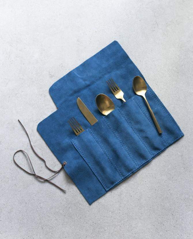 peacock blue suede cutlery roll by maka leathergoods