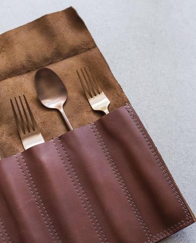 whisky leather cutlery roll by maka leathergoods
